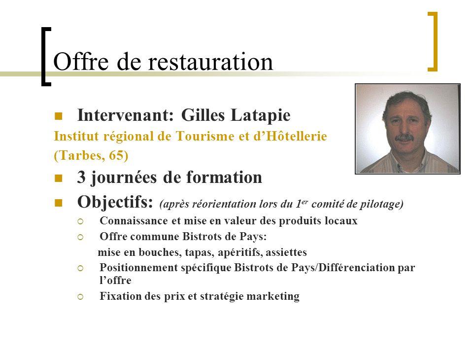 Offre de restauration Intervenant: Gilles Latapie