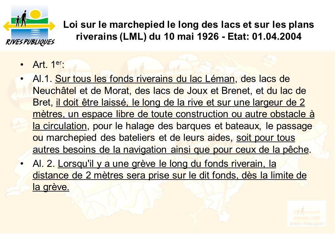Loi sur le marchepied le long des lacs et sur les plans riverains (LML) du 10 mai 1926 - Etat: 01.04.2004