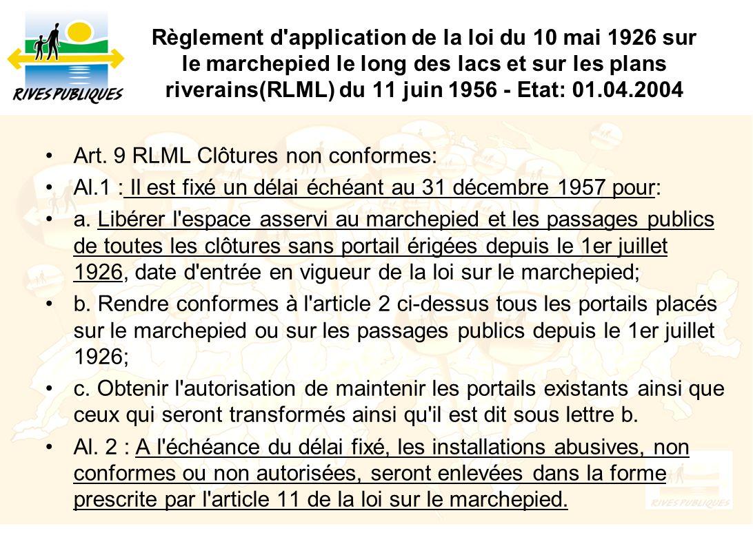 Règlement d application de la loi du 10 mai 1926 sur le marchepied le long des lacs et sur les plans riverains(RLML) du 11 juin 1956 - Etat: 01.04.2004