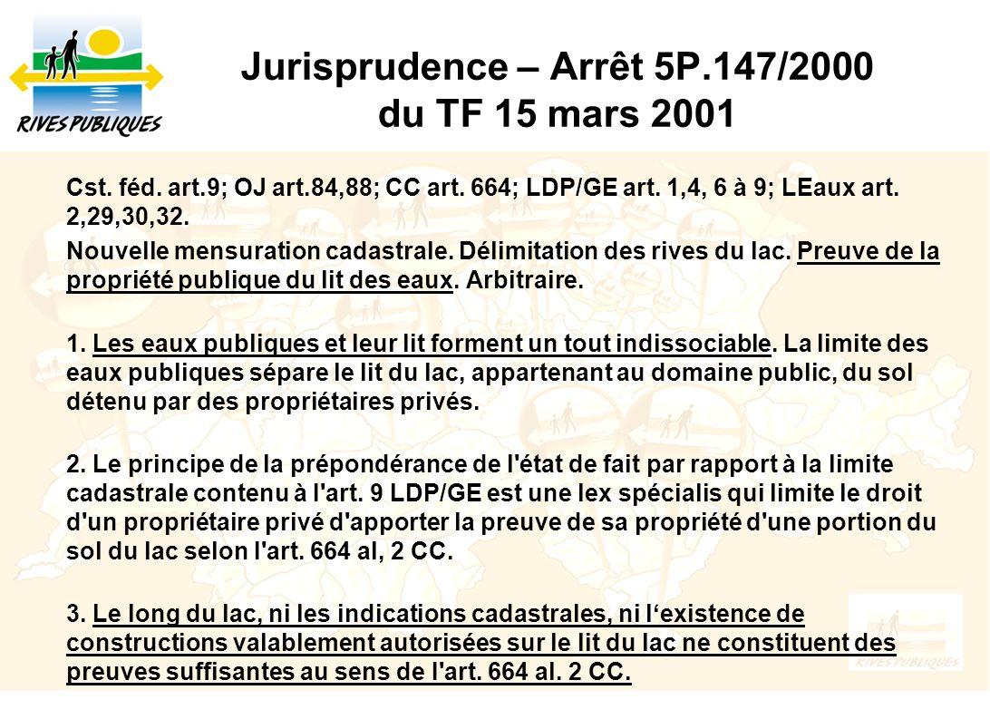 Jurisprudence – Arrêt 5P.147/2000 du TF 15 mars 2001
