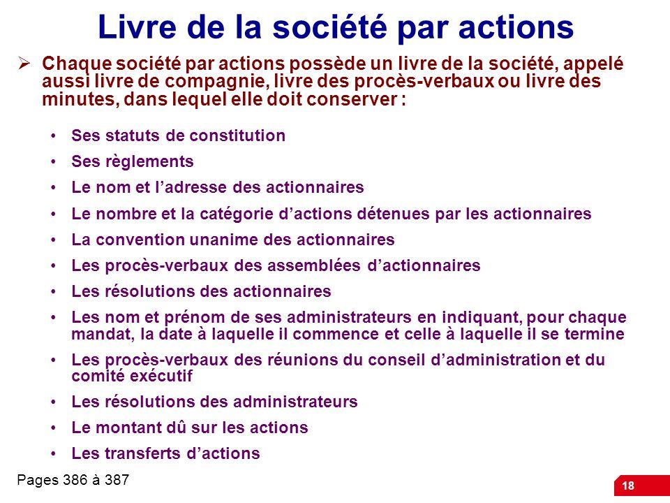 Livre de la société par actions