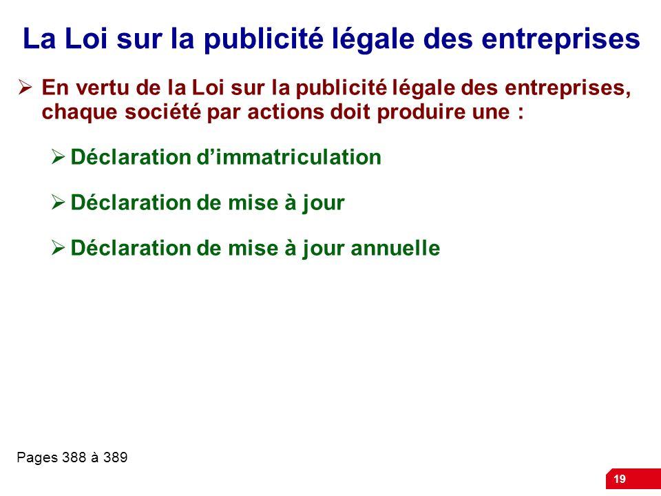 La Loi sur la publicité légale des entreprises