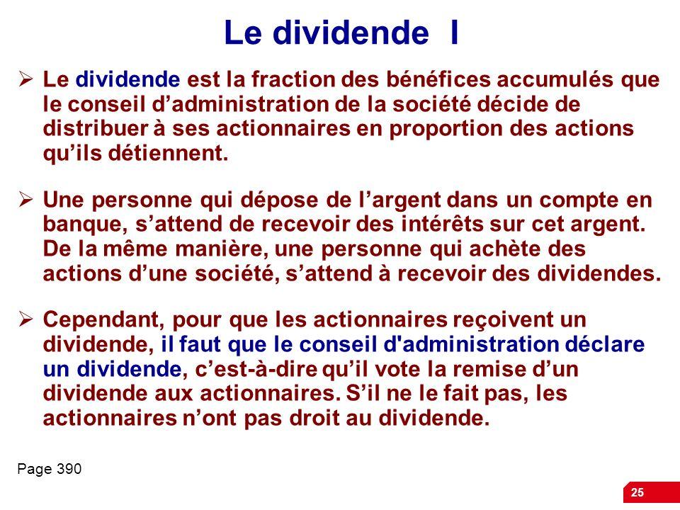 Le dividende I