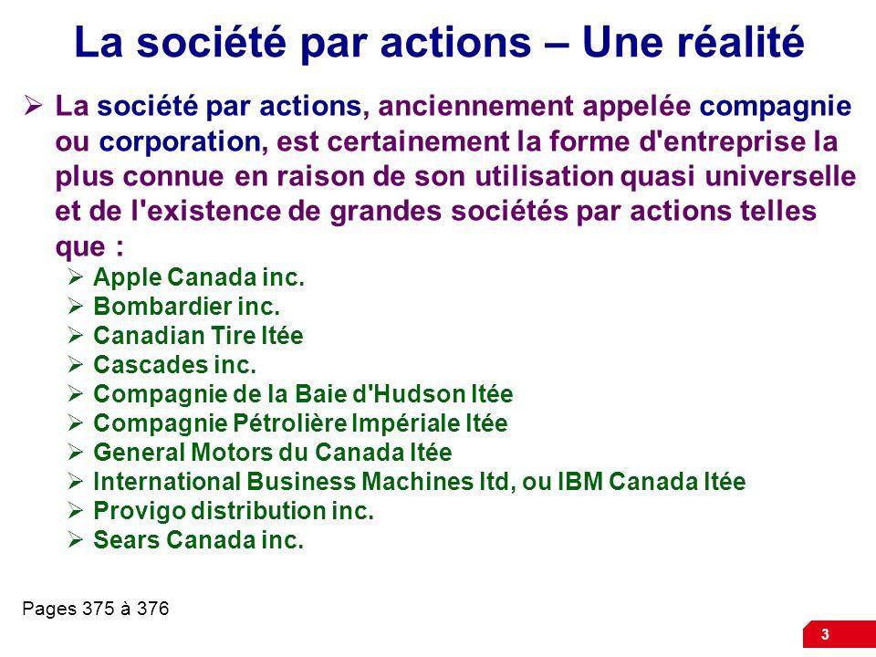 La société par actions – Une réalité