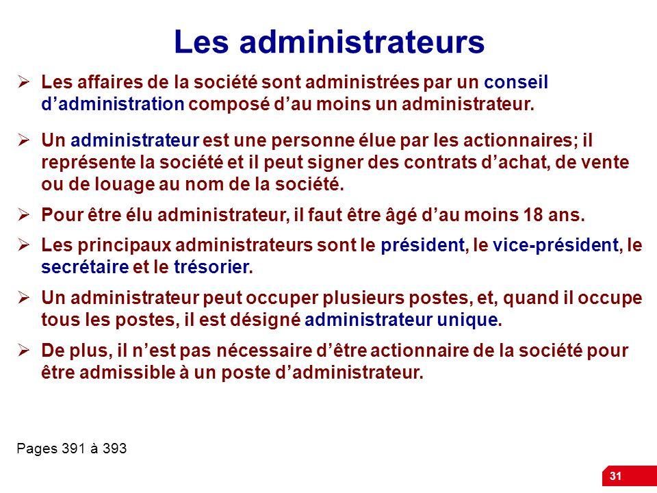 Les administrateurs Les affaires de la société sont administrées par un conseil d'administration composé d'au moins un administrateur.