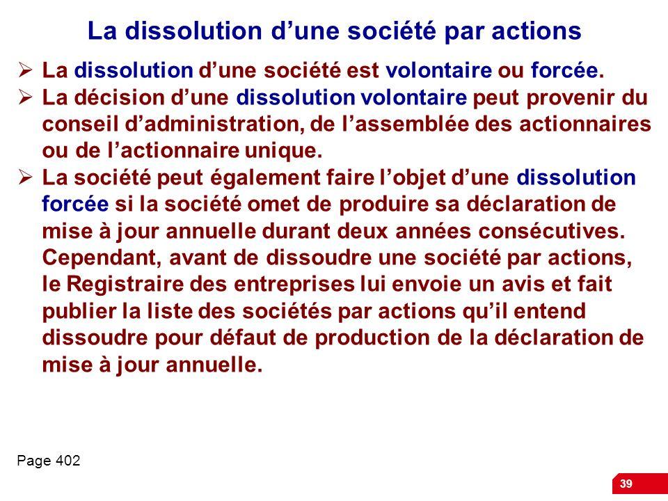 La dissolution d'une société par actions