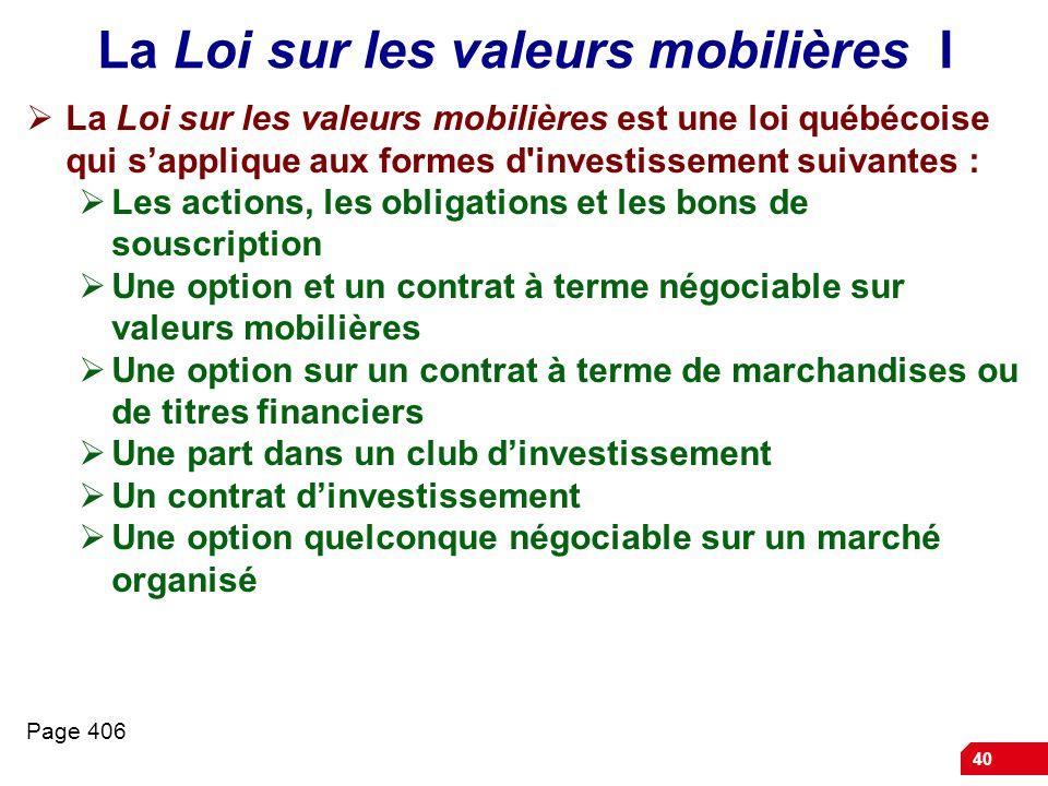 La Loi sur les valeurs mobilières I