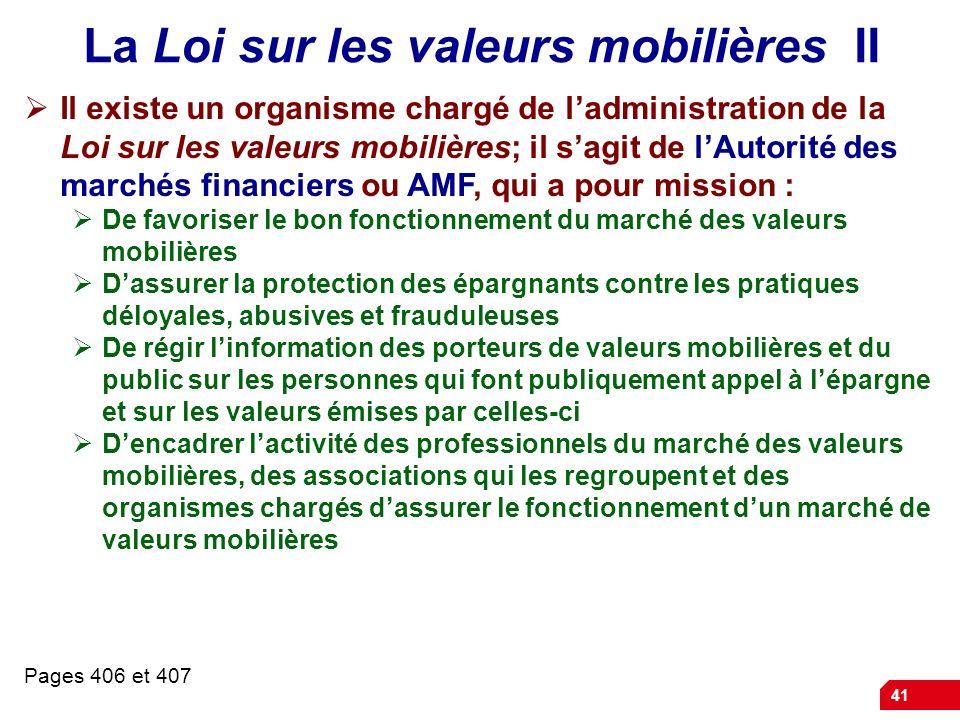 La Loi sur les valeurs mobilières II