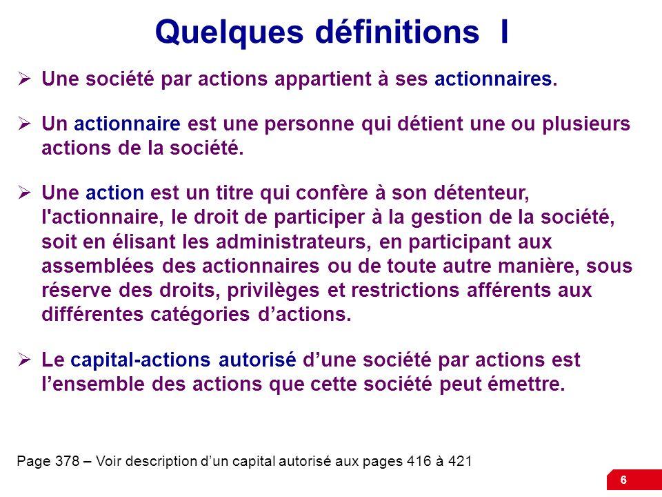 Quelques définitions I