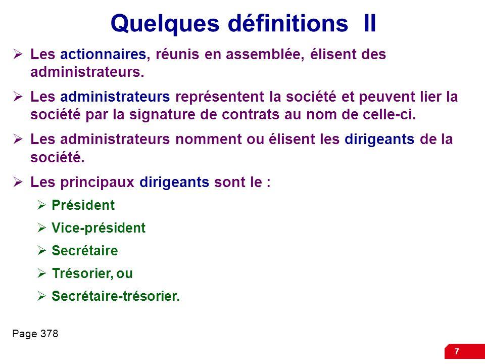 Quelques définitions II