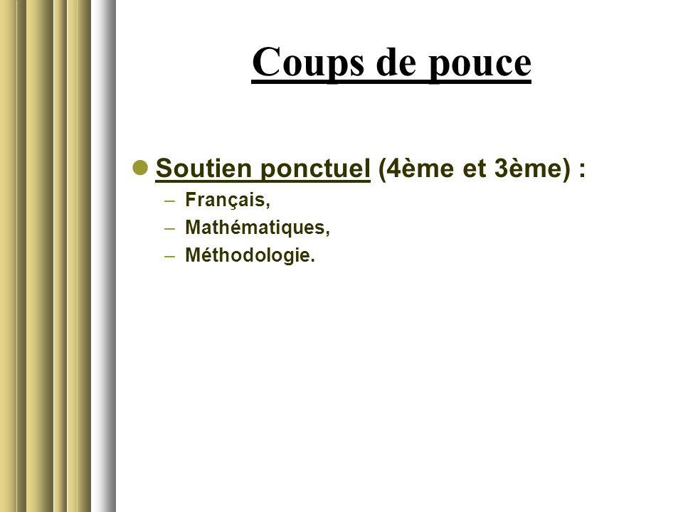 Coups de pouce Soutien ponctuel (4ème et 3ème) : Français,