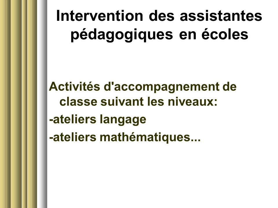 Intervention des assistantes pédagogiques en écoles