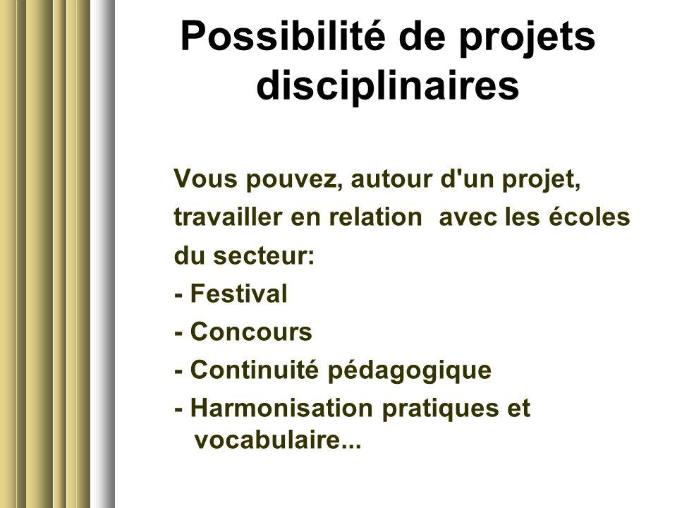 Possibilité de projets disciplinaires