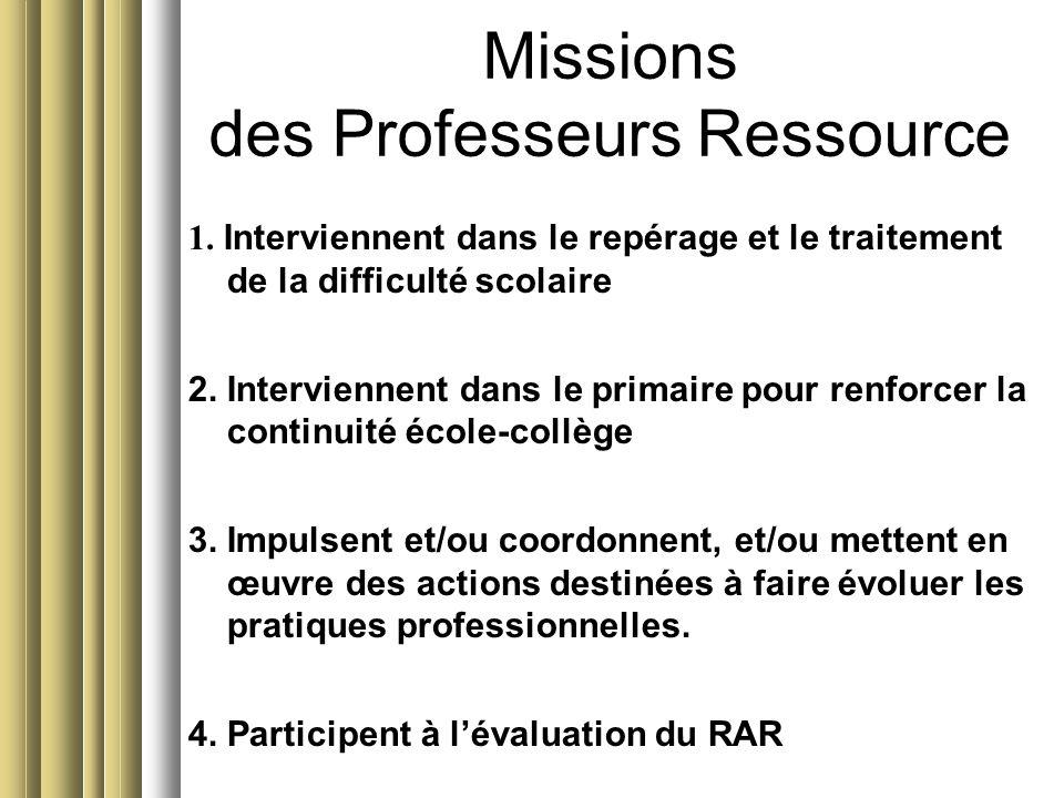 Missions des Professeurs Ressource