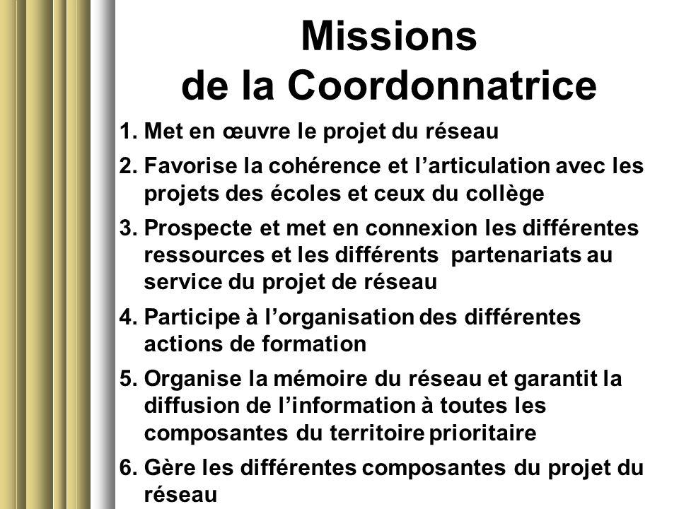 Missions de la Coordonnatrice