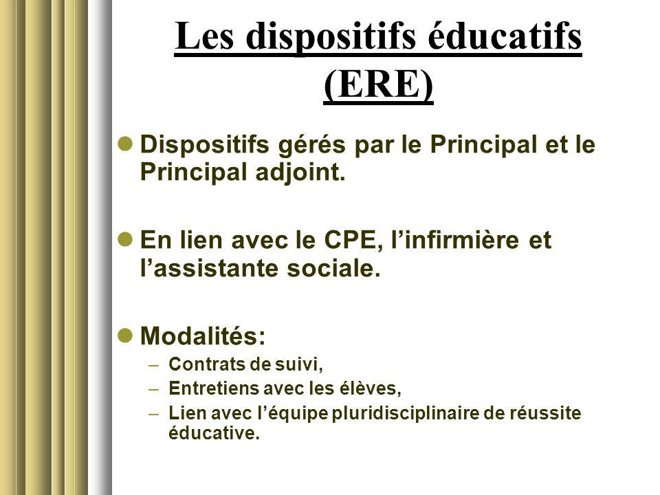 Les dispositifs éducatifs (ERE)
