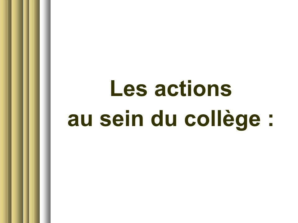 Les actions au sein du collège :