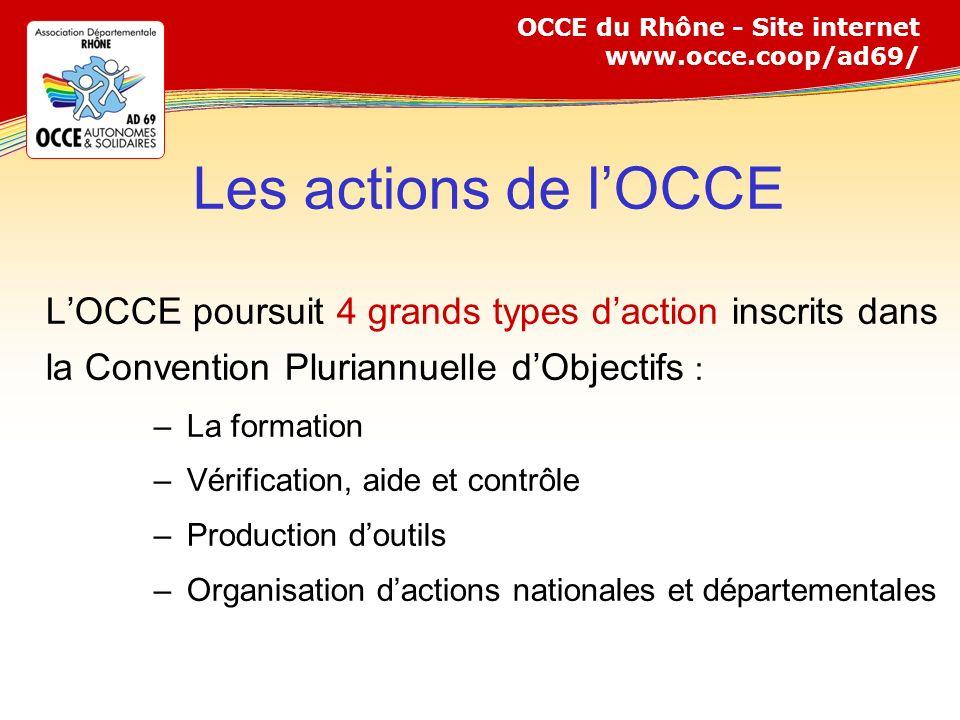 Les actions de l'OCCE L'OCCE poursuit 4 grands types d'action inscrits dans la Convention Pluriannuelle d'Objectifs :