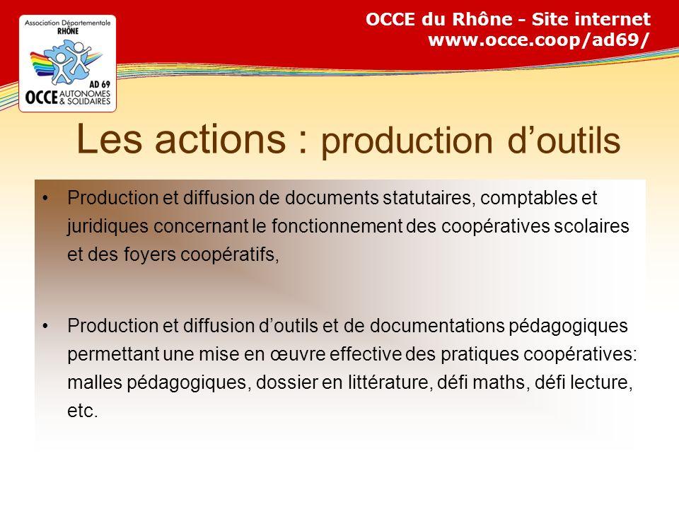 Les actions : production d'outils