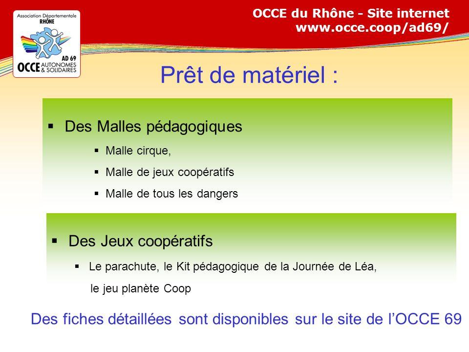 Des fiches détaillées sont disponibles sur le site de l'OCCE 69