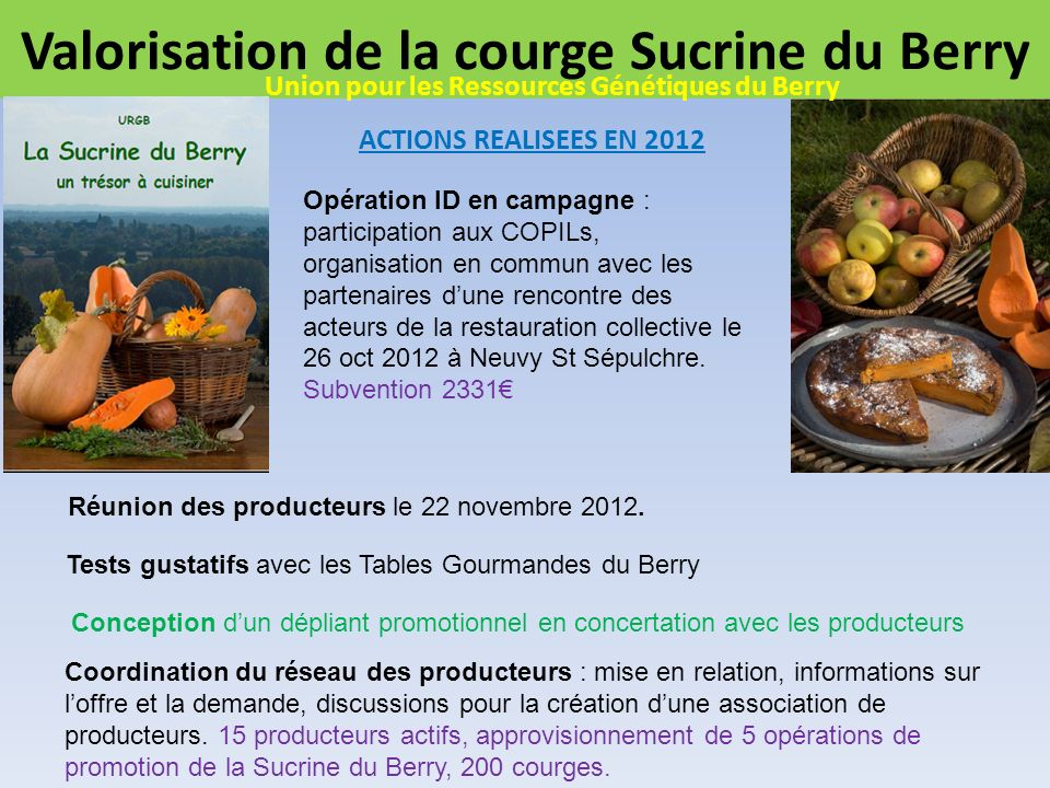 Valorisation de la courge Sucrine du Berry