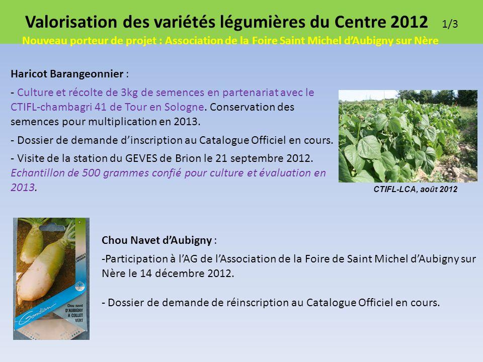 Valorisation des variétés légumières du Centre 2012 1/3