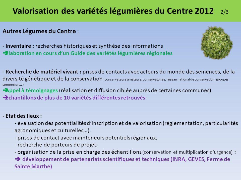 Valorisation des variétés légumières du Centre 2012 2/3