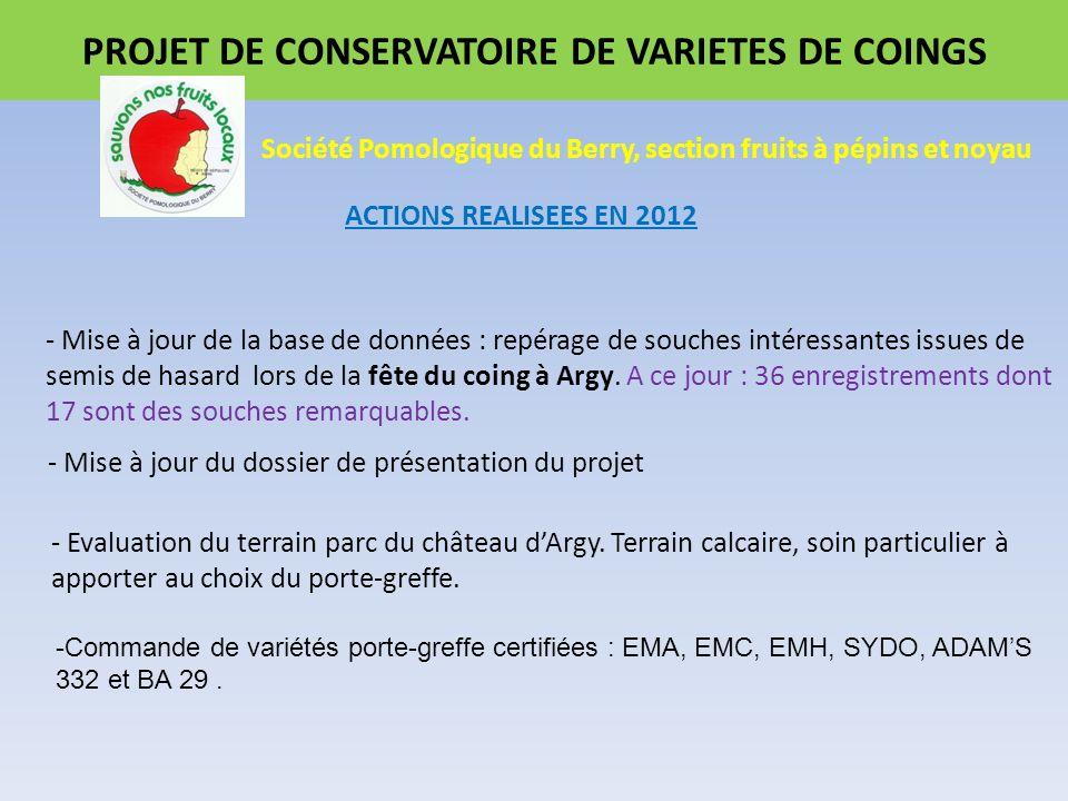 PROJET DE CONSERVATOIRE DE VARIETES DE COINGS