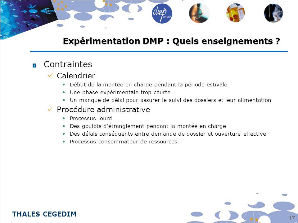 Expérimentation DMP : Quels enseignements