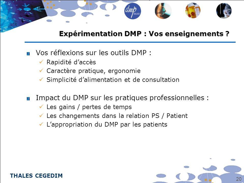 Expérimentation DMP : Vos enseignements