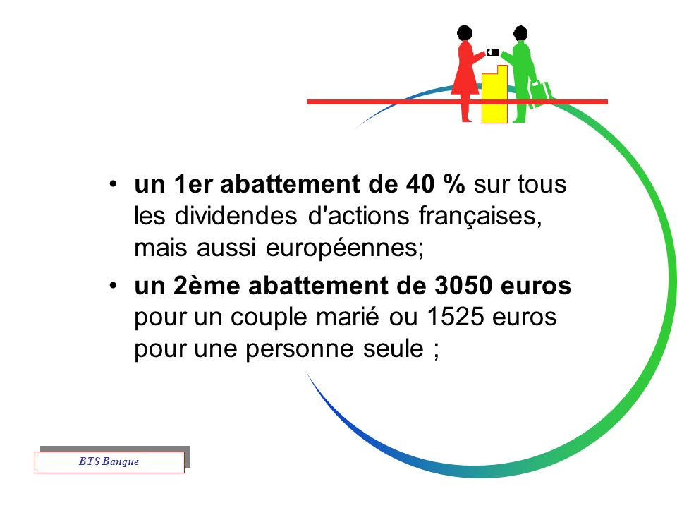 un 1er abattement de 40 % sur tous les dividendes d actions françaises, mais aussi européennes;
