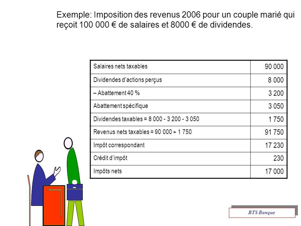 Exemple: Imposition des revenus 2006 pour un couple marié qui reçoit 100 000 € de salaires et 8000 € de dividendes.