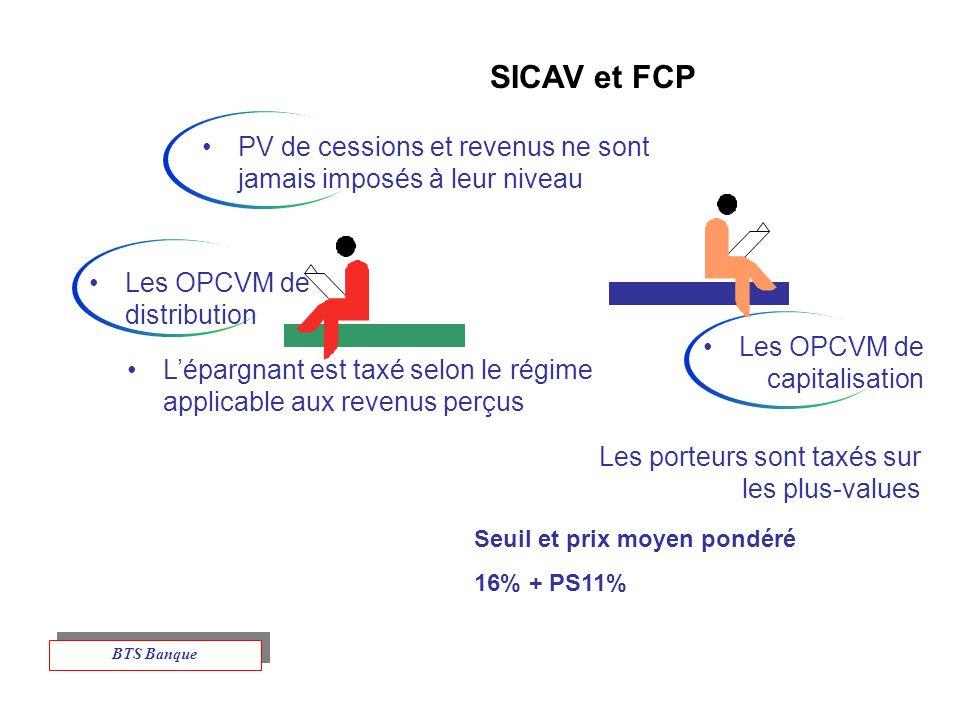 SICAV et FCP PV de cessions et revenus ne sont jamais imposés à leur niveau. Les OPCVM de distribution.