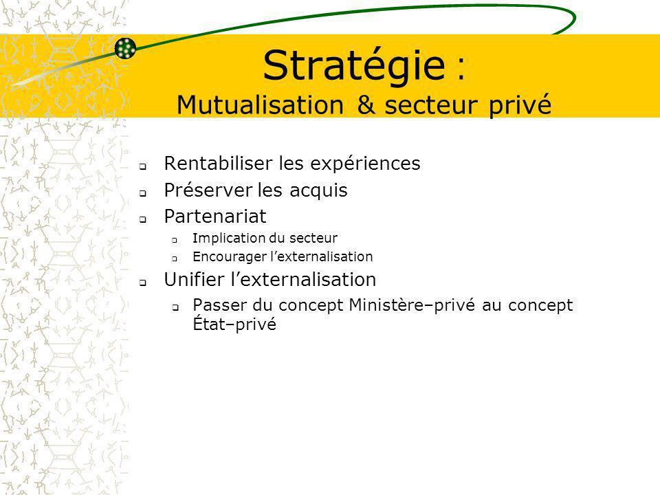 Stratégie : Mutualisation & secteur privé