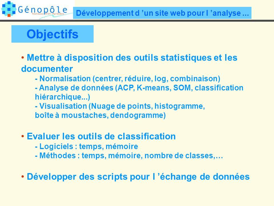 Objectifs Mettre à disposition des outils statistiques et les