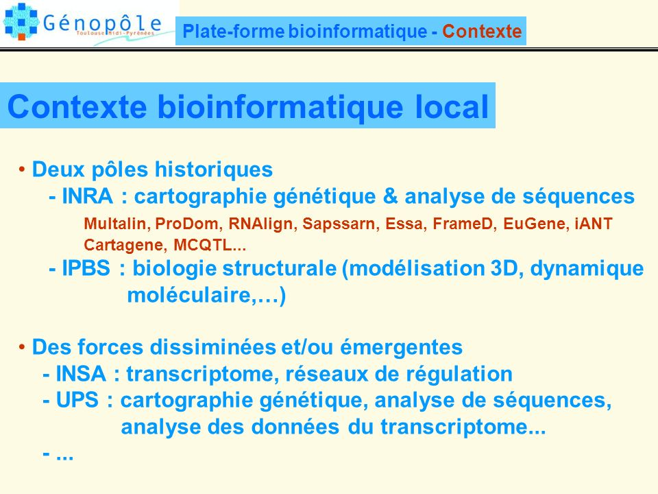 Contexte bioinformatique local
