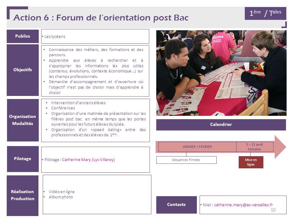 Action 6 : Forum de l'orientation post Bac