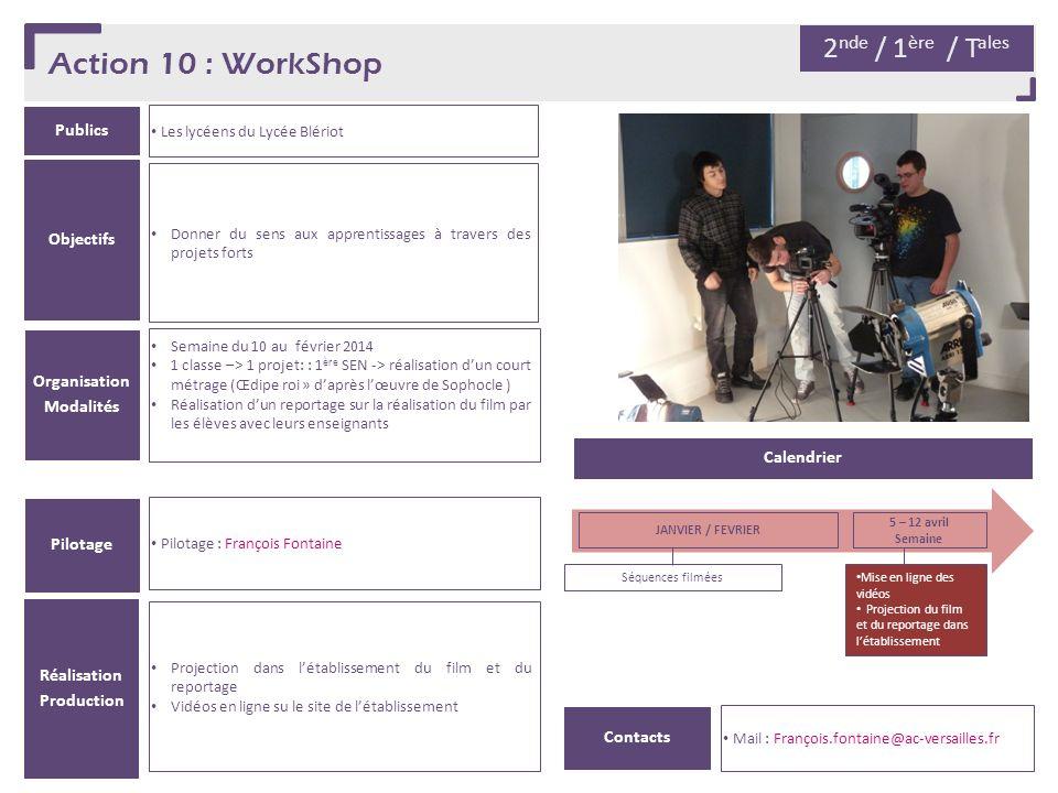 Action 10 : WorkShop 2nde / 1ère / Tales Publics Objectifs