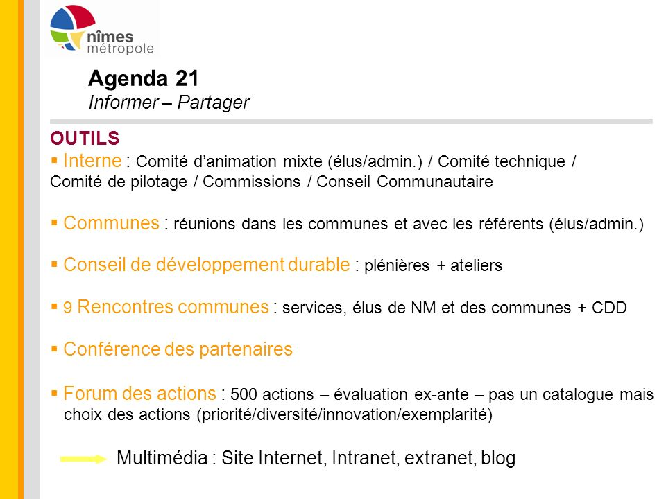 Agenda 21 Informer – Partager OUTILS