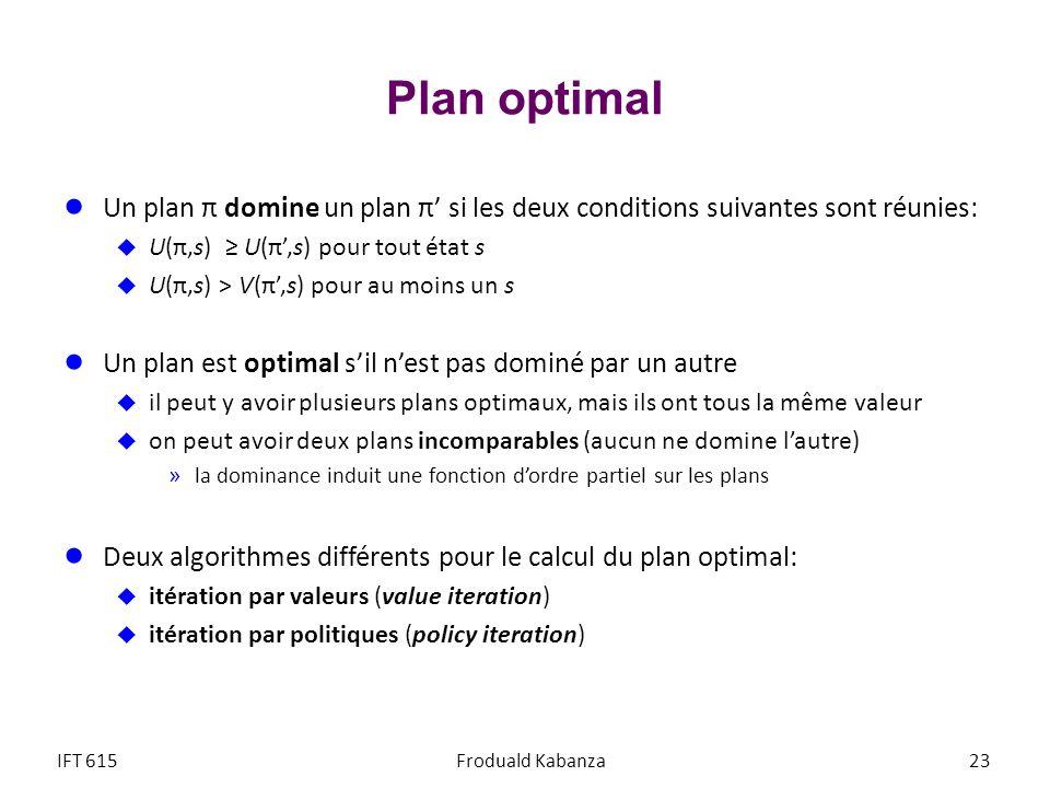 Plan optimal Un plan π domine un plan π' si les deux conditions suivantes sont réunies: U(π,s) ≥ U(π',s) pour tout état s.