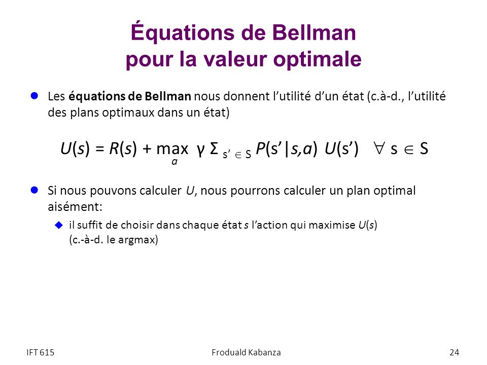 Équations de Bellman pour la valeur optimale