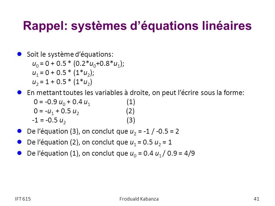 Rappel: systèmes d'équations linéaires