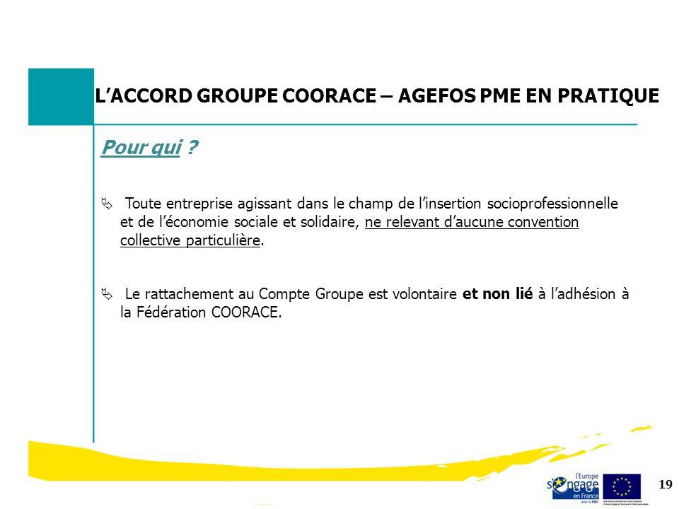L'ACCORD GROUPE COORACE – AGEFOS PME EN PRATIQUE