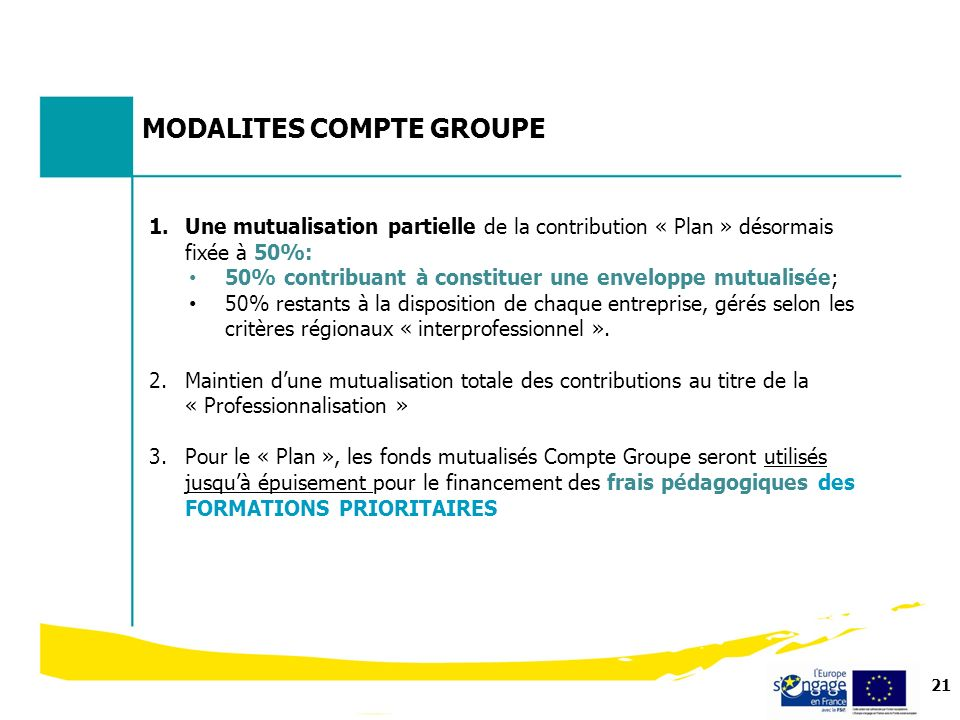MODALITES COMPTE GROUPE