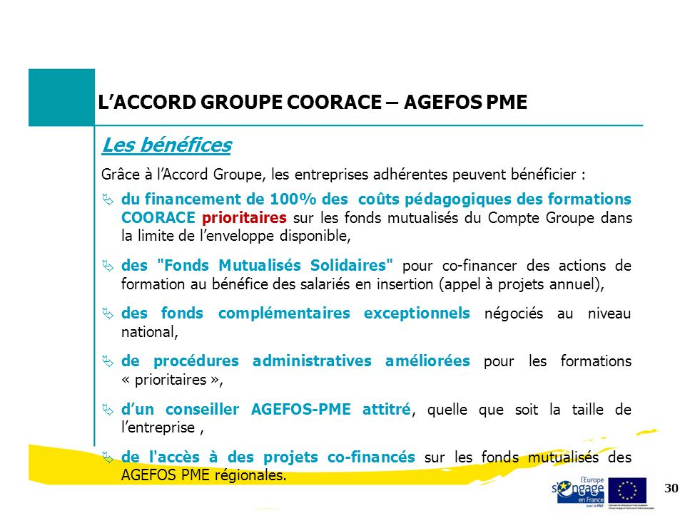 L'ACCORD GROUPE COORACE – AGEFOS PME