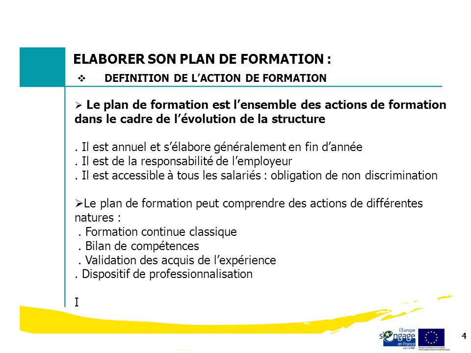 ELABORER SON PLAN DE FORMATION :