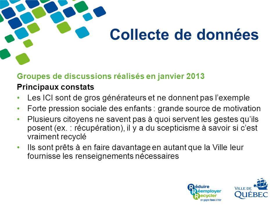 Collecte de données Groupes de discussions réalisés en janvier 2013