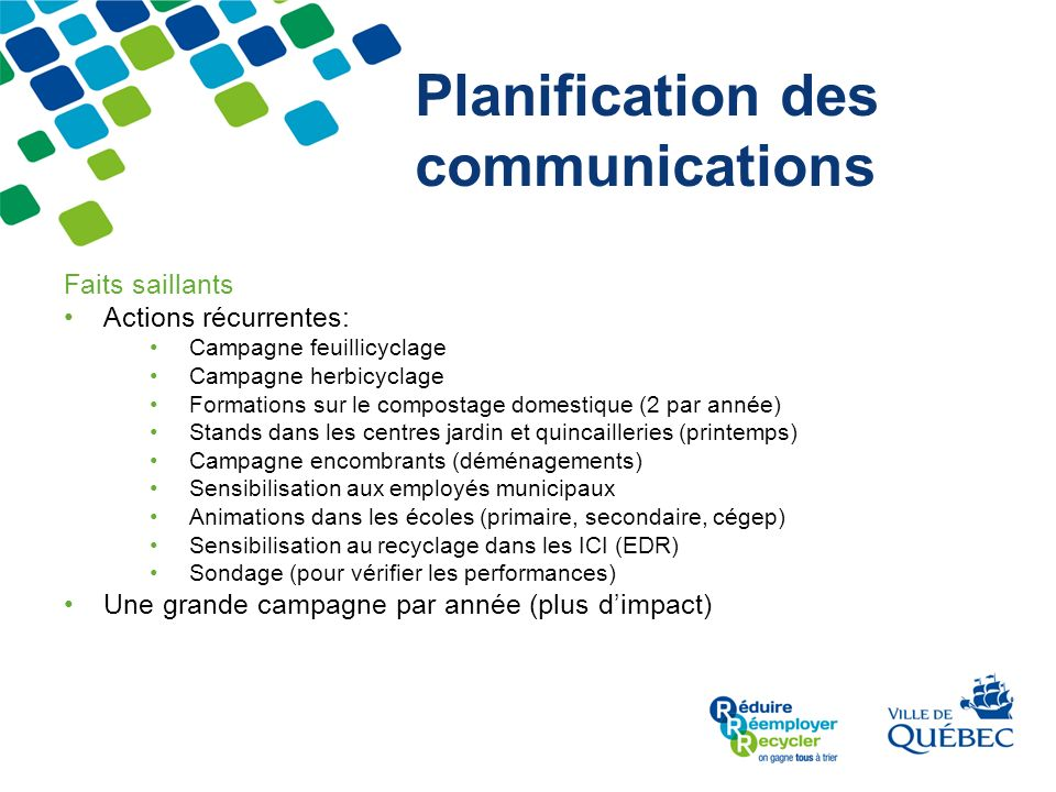 Planification des communications