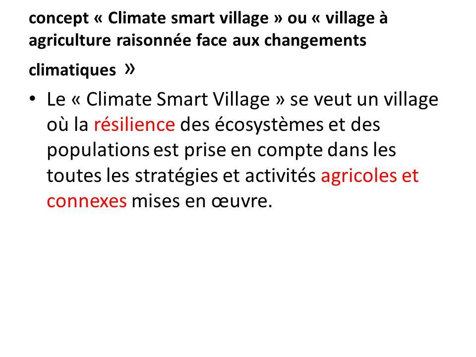 concept « Climate smart village » ou « village à agriculture raisonnée face aux changements climatiques »
