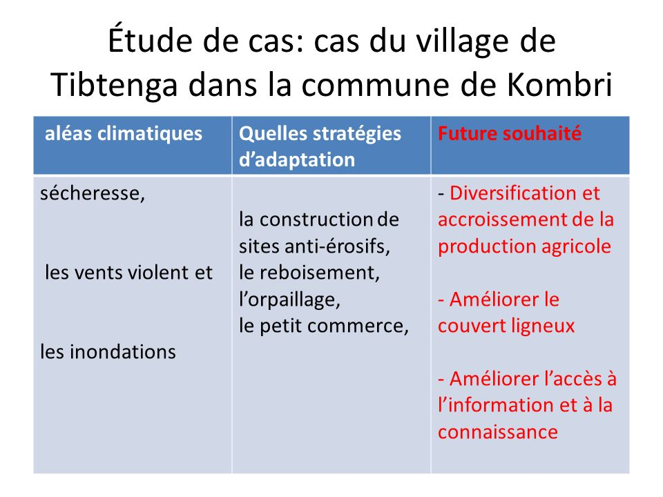 Étude de cas: cas du village de Tibtenga dans la commune de Kombri